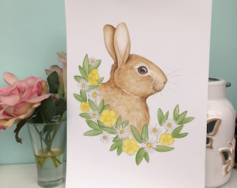 Cute Bunny Wildlife Art Print, 240gsm, A5 and A4 Sizes, rabbit art print, rabbit gift, wall art