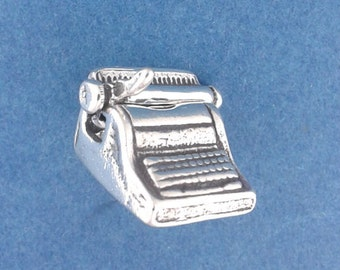 TYPEWRITER Charm .925 Sterling Silver, Typist, Secretary, Movable Pendant - lp1245