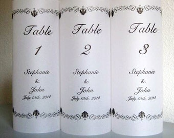 Wedding Table Number Luminaries, Personalized Wedding Luminary Table Numbers with Scroll Border