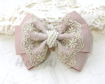 NEW: Ella Grace Collection - Tea Rose / Carmandy Ribbon and Lace Hair Bow Knot Applique. Hair accessories. Fabric pearl Bow