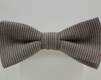 Gray Bowtie with Rust Striping Vintage fine English Tweed wool fabric Handmade Bow tie Clip on