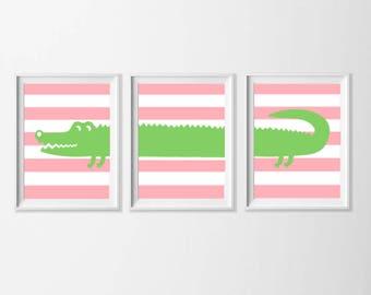 Alligator Art Printable, Pink Apple Green Nursery Art , Safari Wall Art, Nursery Girl Set of 3 Wall Art, Zoo Safari Bathroom, 5x7 Wall Art