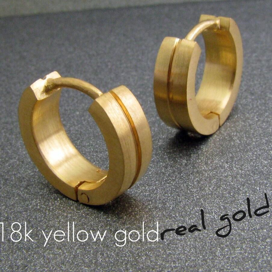 Men\'s hoop earrings binary solid gold hoop earrings