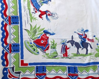 Southwestern Themed 1950s Tablecloth