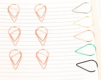 10 Rose Gold Paper Clips   Teardrop Paperclips   Planner Journal Scrapbook Paper Clasp   Folder Accessories School Office Stationery Supply