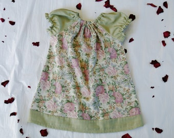 Green and Floral Girls Peasant Dress Size 2