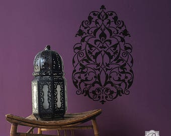 Large Medallion Wall Art Stencil - Moroccan, Middle Eastern, Asian, Indian Motif Wall Decal for DIY Decorating