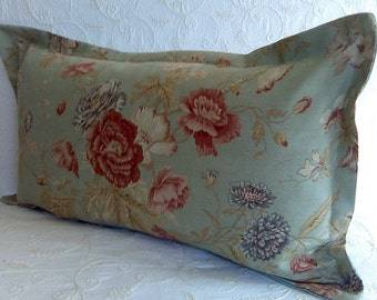 Green Terracotta Floral Pillow Cover Cottage Chic Shabby Cottage Chic Piping or Flange Lumbar 13x20 ONLY ONE AVAILABLE!