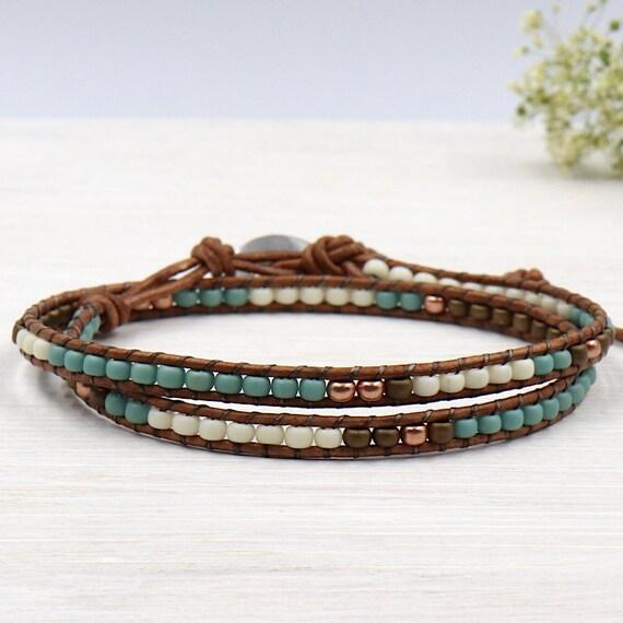 women wrap bracelet with Pearl miyuki green of water twice