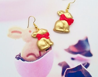 earrings gold rabbit  polymer clay