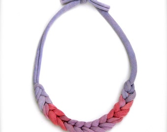Ombre Chevron Statement Necklace - Berry Fuschia Purple - Recycled Fabric Jewelry