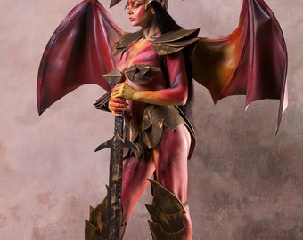 Lady Dragon Costume Red Black Green Dragon - Costume Hallowen - pageant - masquerade