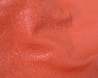 orange red piece of leather, vermilion genuine real leather - italian quality natural cow leather - sample scrap piece (B26)