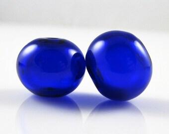 Cobalt Lampwork Glass Hollow Bead Pairs