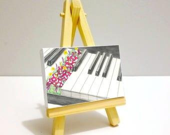 The Piano Garden - Art Print Mini Canvas