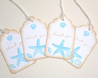 10 Beach Seashore Destination Wedding Favor Tags or Bridal Shower Tags - Tropical Wedding - Seashell Gift Tags - Thank You Tags - Aqua Beige
