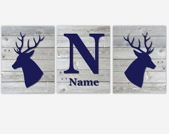 Deer Baby Boy Nursery Art Navy Blue Gray Deer Head Antler Rustic Personalize Prints Deer Decor Antler Wall Art Baby Nursery Decor Toddler