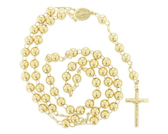14k Yellow Gold Plain 8mm Beads 30 inches Huge Big Heavy Rosary Necklace for Men Women