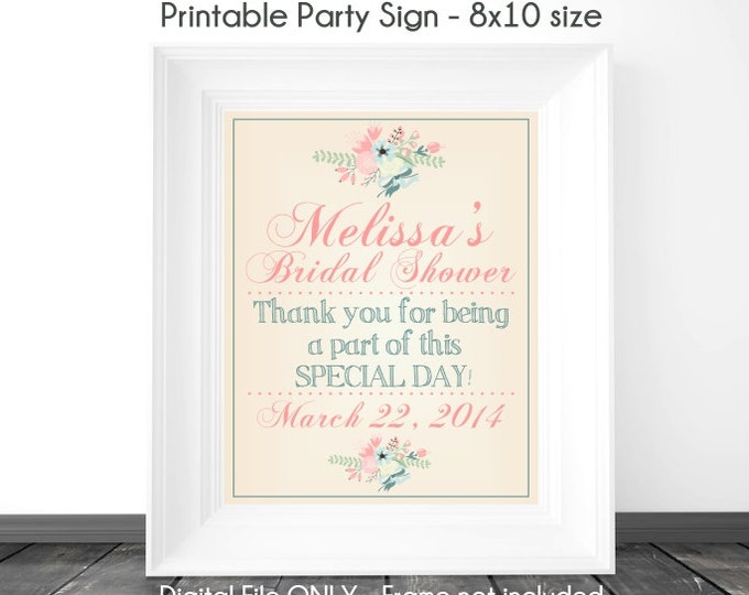 Bridal Shower Printable Sign, Wedding Shower Sign, Tan and Floral Printable Sign, Custom Bridal Shower Sign, 8x10, YOU print