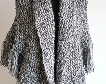 XX Large Size Warm and Cozy Light Dark Gray Color Textured Knitted Wrap Blanket Shawl Stole with Fringes