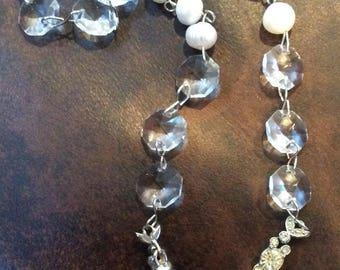 Vintage Rhinestone Dress Clip Necklace