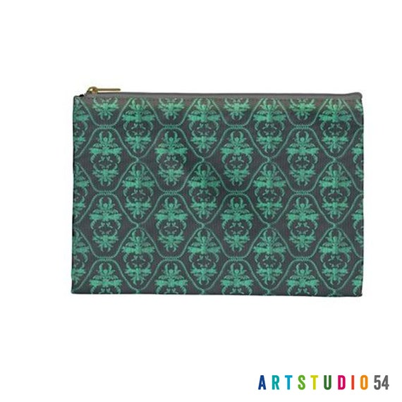"""Teal Grey Damask Pattern on a Pouch, Make Up, Cosmetic Case Travel Bag Pencil Case - 9"""" X 6"""" -  Large -  Made by artstudio54"""