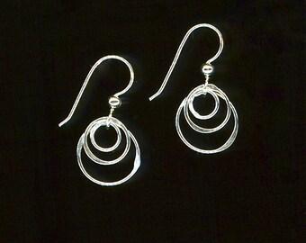 Hoop Earrings, Wire Earrings, Silver Earrings, Circle Earrings, Hoop Earrings Sterling Silver Chain Link Circles, Wire Jewelry