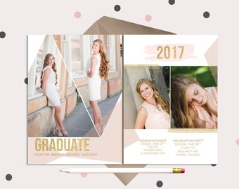 Blush Pink & Gold Graduation Announcements · Modern 4 photo design · Geometric 2017 Graduate
