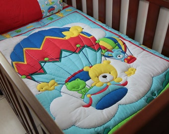 Baby Quilt Blue Hot Air Balloon with pillow case