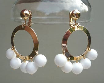 Colourful Mid Century White Hoop Earrings with Dangle Beads, Sarah Coventry Carnival Jewellery 7313