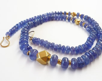 Tanzanite necklace 18K Gold Necklace, Old gold beads - Unique Jewelry OOAK Necklace