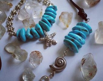 Natural Sleeping Beauty Aqua Blue Turquoise Fine Silver Nautilus Shell Swarovski Pendant Necklace