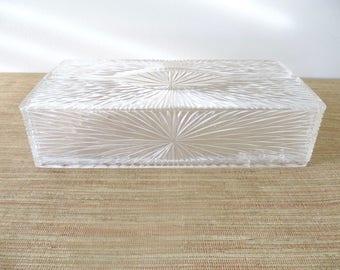 Vintage Lucite Kleenex Box - Starburst Design by Celebrity - Wall Mount Tissue Box