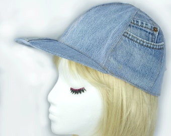 Womens Baseball Cap in Washed Denim | Light Blue Denim Snapback Cap | Upcycled Denim Jeans Hat | Blue Chambray Hat | Pink Plaid Lined