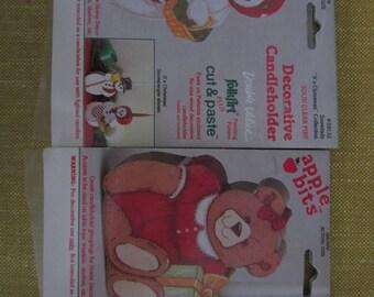Apple bits, cut and paste wood candleholders,snow woman,girl bear,folk art,child