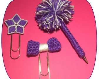 PomPom Pen, Star and Bow on Large Paper Clip