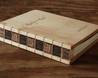 custom engraved logo wood cabin or wedding guest book maple rustic anniversary gift memorial book  journal natural - made to order