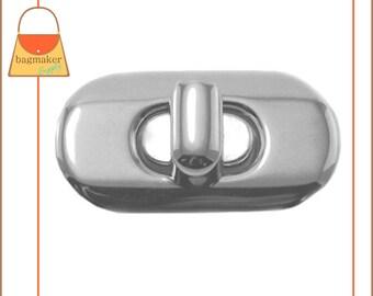 Oval Turn Lock / Twist Lock, Nickel Finish, 1 Set, Purse Handbag Bag Making Hardware Supplies, CSP-AA004