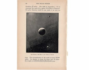 1899 EARTH MOON and VENUS in space print original antique astronomy lithograph