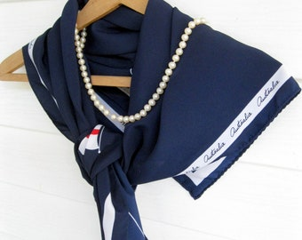 Vintage Navy Blue Australia Scarf,  Tourist Scarf, Flags, Sutherland Shire, Neckwear, by mailordervintage on etsy