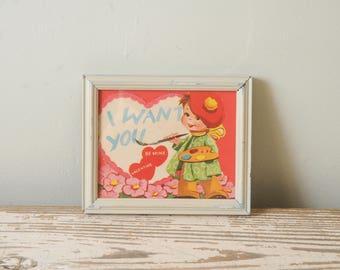 1940s Valentine's Day Card Artist Painter Framed