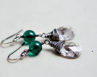 Crystal Earrings, Dangle Earrings, Emerald Earrings, Crystal Earrings, Crystal Jewelry, Silver Patina, Wire Wrapped, Drop Earrings, PoleStar