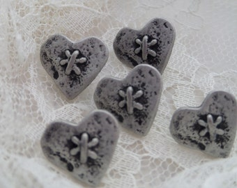 Five Heart Buttons Silvertone Metal