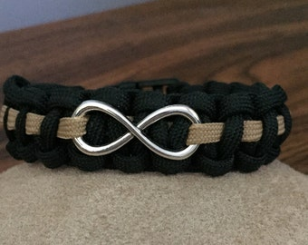 Dispatcher Thin Gold Line Paracord Bracelet with Infinity Charm