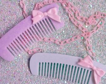 Fairy Kei Comb - Hairdresser Kitsch Kawaii Necklace