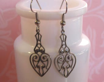 Filigree Heart Earrings - Antique Silver