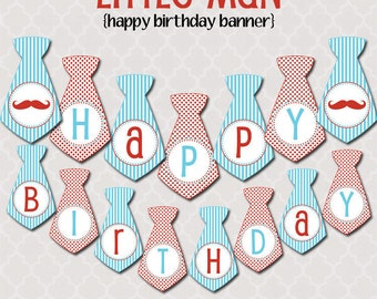 Little Man Happy Birthday Banner | Printable | Instant Download