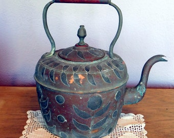 Vintage Antique Very Large Moroccan Copper Kettle w/ Applied Brass Flowers and Leaves - Morocco Hot Water Kettle for Baths - Fabulous Patina