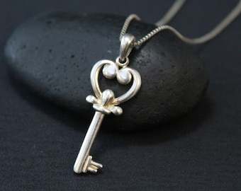 Valentine's Day Sterling Silver Key to my Heart Necklace on Long 24 inch Sterling Silver Box Chain