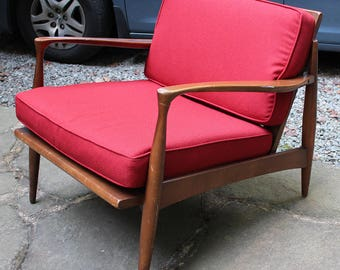 Beautiful Mid Century Lounge Chair New Cushions (fabric And Foam) Danish  Style Will Ship